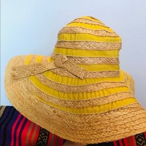 Accessories - Tuscany Sun Woven Wide-Brim, Straw Hat Yellow